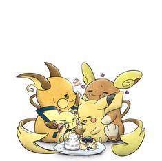 Chu family enjoying some pancakes Pokemon Fan Art, Pokemon Sun, Cute Pokemon, Pokemon Images, Pokemon Pictures, Pichu Pikachu Raichu, Creepypasta Anime, Pokemon Stories, Vanellope