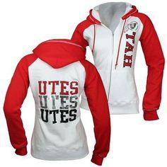 ****Utah Utes Womens Colorblock Hooded Sweatshirt (Red/White)****