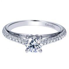 .53cttw pave set round diamond engagement ring with .36ct G/I1 center diamond