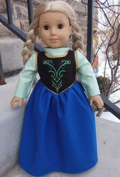 I really need to finish my version Anna dress from Frozen for American Girl Doll American Girl Outfits, American Girl Crafts, American Doll Clothes, Ag Doll Clothes, Doll Clothes Patterns, Doll Patterns, Anna Dress, America Girl, Doll Costume
