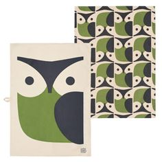 Owl Set of 2 Tea Towels Green