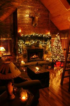 5 Best Decor Ideas for Your Fireplace – Voyage Afield Christmas Fireplace, Cozy Christmas, Country Christmas, Cabin Christmas Decor, Xmas, Christmas Photos, Beautiful Christmas, Christmas Lights, Cozy Cabin