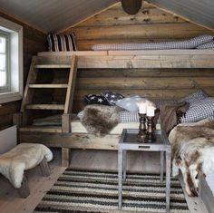 Risultato immagine per Cosy country cabin rooms Cabin Interior Design, Interior Decorating Tips, Cabin Design, Bed Design, House Design, Bunk Rooms, Bedrooms, A Frame Cabin, Boho Home
