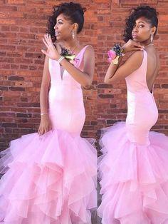 Pink Formal Dresses Long, Mermaid Prom Dresses For Teens, Satin Graduation Dresses Open Back, Tight Military Ball Dresses V Neck Prom Dresses Long Pink, Mermaid Evening Dresses, Prom Dresses Online, Formal Evening Dresses, Tight Dresses, Homecoming Dresses, Pink Dress, Pink Tulle, Satin Tulle