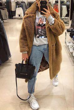 Automnehiver Streetwear Un Manteau Avec Tenue Femme En Peluche Long Mode 7qSXw5tx6