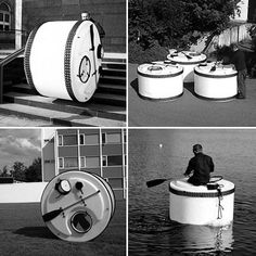 Walking behind the wheel as it rolls is one way to move it, or it can be turned into a small boat for soggy locales. A resident can move it hamster wheel-style by walking inside, or it can be hitched to a vehicle and towed. Several Snail Shells can be networked to form a temporary community, or a single unit can be stashed in a regular parking space. For particularly hairy situations, the tiny dwelling can even be buried in the ground with only the entrance hatch exposed.