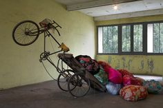 Kimsooja - Mumbai: A Laundry Field ,Installation at Continua Gallery, Le Moulin, 2009