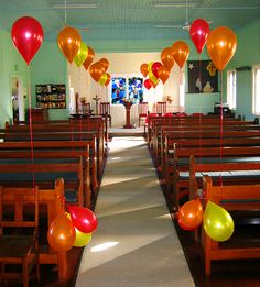 pentecost balloons | Church of the Holy Nativity decorated for Pentecost
