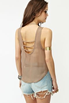 Strapped Crop Tank in Mocha