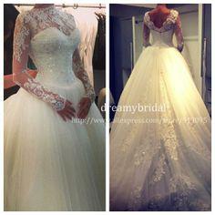 Vestido De Noiva Elegant High Neck Lace Long Sleeves Beaded Ball Gown Princess Wedding Dress 2014 Wedding Gowns Top quality!! $319.99