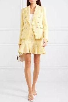 Tweed Mini Skirt, Tweed Dress, Tweed Blazer, Look Fashion, Fashion Outfits, Womens Fashion, Fashion Tips, Estilo Preppy, Yellow Suit