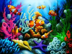 Here Come the Clowns is an under the sea painting with clown fish and tropical coral reef by artist David Miller. Colorful Fish, Tropical Fish, Wall Decor Crafts, Art Decor, Room Decor, Underwater Painting, Underwater Wallpaper, Underwater Fish, Murals Your Way