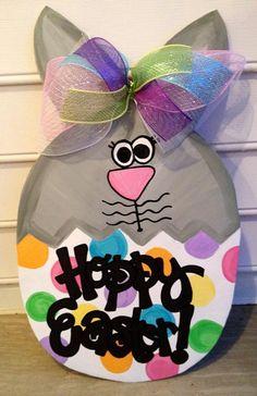 Hoppy Easter door hanger  easter bunny easter egg by paintchic, $43.50
