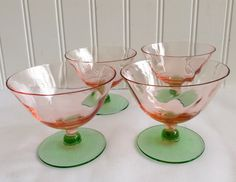 Vintage Watermelon Glasses/ Pink and Green Depression Glass/Collectible/.Tiffin Glass /Sherbert Glasses/ Champagne Glasses