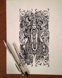 21 Ideas for line art drawings doodles coloring pages Shiva Art, Krishna Art, Hindu Art, Madhubani Art, Madhubani Painting, Doodle Art Drawing, Art Drawings Sketches, Pencil Drawings, Oriental