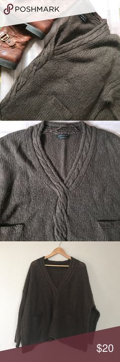 Comfy/ Statement Sweater This is wool and acrylic and has a great feel, it is extra wide and has a shorter fit making it a statement piece. Great to balance out leggings and boots! Or maybe over a denim top BCBGMaxAzria Sweaters
