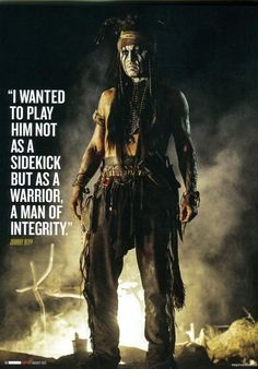 Johnny Depp - Tonto.  I just saw it and must admit to spending too much time enjoying mr. Depp shirtless.