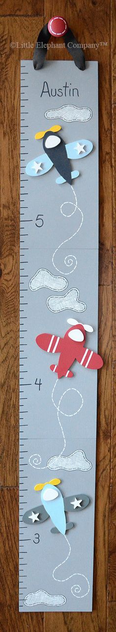 Vintage Airplane Wooden Growth Chart, handpainted, FREE nail cover and personalization - Baby Products Wooden Wall Letters, Letter Wall, Growth Ruler, Airplane Nursery, Airplane Party, Personalized Growth Chart, Air Festival, Height Chart, Vintage Airplanes