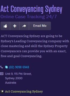 Sydney Property Conveyancing  Conveyancer do hold various responsibility for the activities which is been taken place in the process of conveyancing. Read more http://www.aroundyou.com.au/place/businesses/act-conveyancing-sydney