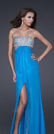 Fashion Chiffon Long Sleeveless Blue Natural Evening Dress In Stock kaladress10477