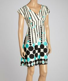 Look at this #zulilyfind! Green & Cream Geometric Surplice Dress #zulilyfinds