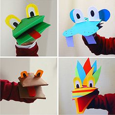 Hand puppets Babyccino Kids: Daily tips, Children's products, Craft ideas, Recipes & Paper Crafts For Kids, Projects For Kids, Diy For Kids, Arts And Crafts, Paper Puppets, Hand Puppets, Sock Puppets, Construction Paper Crafts, Puppet Crafts