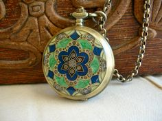 Time for Spring Pocket Watch Necklace with Inlayed Blue and Green Enamel and Crystals on Antiqued Brass.