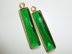 Emerald Green Quartz Bar with 24K Gold Vermeil Pendant/Charm - 30x6mm