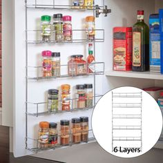 Tier Kitchen Wall Mounted Storage Rack Hanging Organizer Home Spice Can Shelving Holder, Silver Pantry Door Storage, Diy Kitchen Storage, Storage Rack, Pantry Door Organizer, Kitchen Cupboard Organization, Spice Rack Organiser, Spice Organization, Organizing, Kitchen Spice Racks