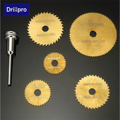 Drillpro 6pcs HSS Circular Saw Blades Set Titanium Coated Saw Blades for Dremel Rotary Tools