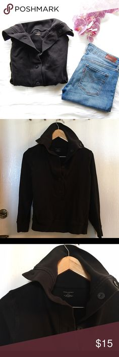 BANANA REPUBLIC Sweatshirt Faded black sweatshirt with shawl collar. Two front pockets. Cute and comfy with stretch. Cotton/spandex blend with trim being 100% cotton.   Blog: bringingupsuns.com Instagram: @bringingupsuns Banana Republic Tops Sweatshirts & Hoodies