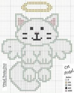 cat angel cross stitch pattern