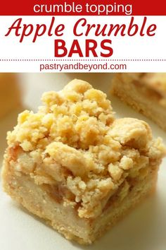 Apple Pie Bars Recipe-This delicious apple pie bars recipe with crumb topping is crunchy and soft. You'll use the same shortbread dough for the crust and the crumbles to make these easy and from scratch apple pie bars. Apple Crisp Bars Recipe, Apple Crumble Pie, Apple Pie Bars, Crumble Recipe, Baked Apple Dessert, Apple Dessert Recipes, Delicious Desserts, Cookie Recipes, Apple Recipes Easy