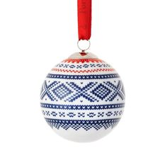 Julekule BLÅ/RØD - MARIUS – Hyttefeber Christmas Deco, Christmas Balls, Xmas, Christmas Ornaments, Traditional, Holiday Decor, Blue, Norway, Design