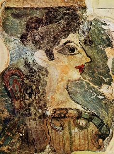 Minoan Lady From The Knossos Palace -- Cosmetics included henna for lips, kohl for eyes. Creta, Ancient Art, Ancient History, Knossos Palace, Bronze Age Civilization, Minoan Art, Rome Antique, Mycenaean, Greek History