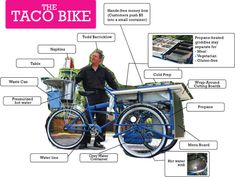 Todd Barricklow designed and built this taco bike. Has hot water, cold storage, four burner grill, waste water containment, trash can, hand washing sink, cutting boards. etc.