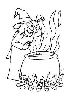 Une sorcière entrain de fabriquer une potion magique dans sa grosse marmite, dessin à colorier