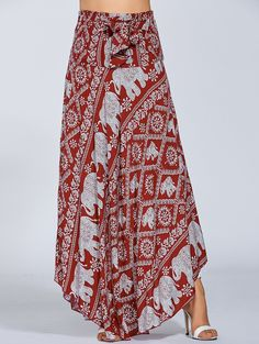 High Waisted Elephant Print Maxi African Print Skirt - RED ONE SIZE