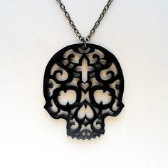 Filigree Skull Necklace by FeastofFlesh on Etsy