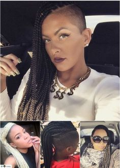 Check out the latest box braids styles, that can be styled in buns, ponytails, twists and even plaits. Box braids can be versatile! Box Braids Hairstyles For Black Women, Black Girl Braids, Side Hairstyles, Girls Braids, Braided Mohawk Hairstyles, Shaved Hairstyles, Hairdos, Twists, Dreads