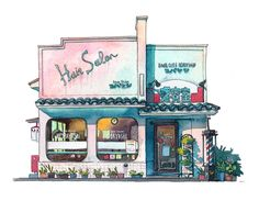 "The third illustration from my ""Tokyo Storefronts"" watercolour series is done! This one is somewhat special because I already painted this building once before about 3 year ago. It is an old hair salon located really close to the place I lived when I first moved to Tokyo. It's 60' retro style caught my eye from the moment I saw it. There are a LOT of hair salons in Japan and many of them are quite old and gained quite a character over the years.  Technical stuff:  - Medium: HOLBEIN…"