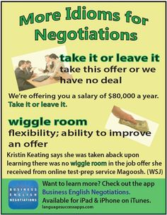 Great idioms for negotiations. Those studying #BusinessEnglish are sure to appreciate these! #ESL