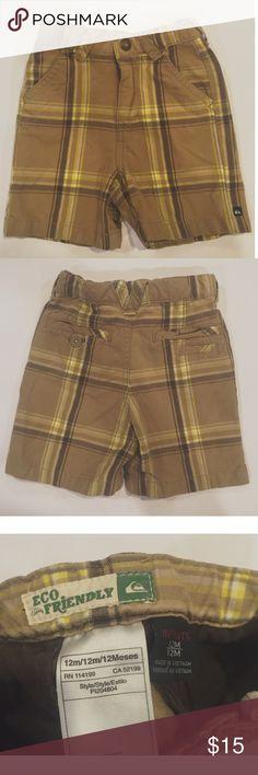 Quiksilver Infant Boys Plaid Shorts Tan, Brown, & Yellow Plaid Shorts. 12 month old / Infant Boy Size. Belt loops, snap button, zipper, pockets. Good Conditon! Brand Quiksilver Surfer Style. Quiksilver Bottoms Shorts