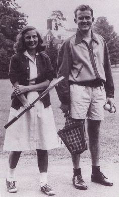 The latest in tennis fashion at Roanoke in the early 1950s.