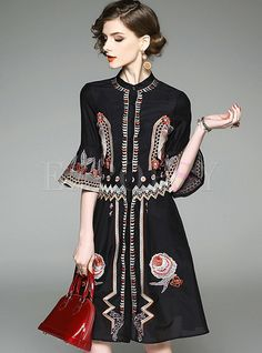 Shop for high quality Ethnic Embroidery Flare Sleeve Skater Dress online at cheap prices and discover fashion at Ezpopsy.com