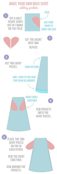 How to sew pockets in 5 easy steps. Part of the ultimate, easy-to-follow guide to making your own maxi skirt   Randomly Happy
