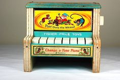 vintage children's toy, kid piano, wooden toy