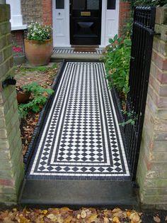Victorian mosaic path, porch and Yorkstone porch step Front Garden Path, Front Path, Front Door Steps, Front Stairs, Porch Steps, Victorian Porch, Edwardian House, Victorian Kitchen, Victorian Bathroom