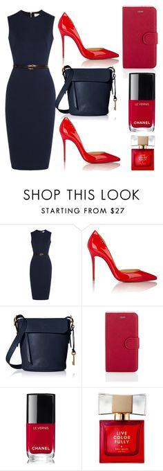 """""""Untitled #1673"""" by swc0509 ❤ liked on Polyvore featuring Victoria Beckham, Christian Louboutin, FOSSIL, Chanel and Kate Spade"""
