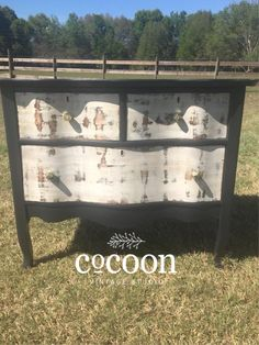 Black matte frame serpentine dresser with drawers to mimic birch. Would make a fabulous coffee bar!  Facebook.com/cocoonvintage